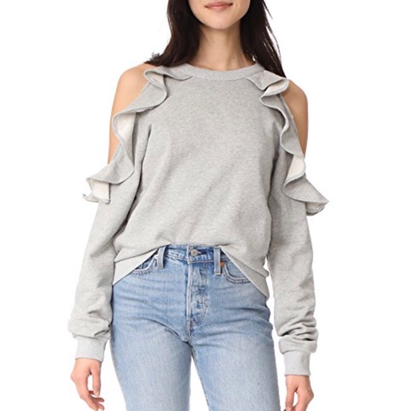 02a1d5448d2 Style Mafia Aris Gray Frill Cold Shoulder Sweater